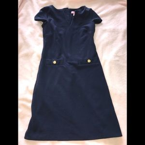 Lily Pulitzer Navy Button Dress Short Sleeve
